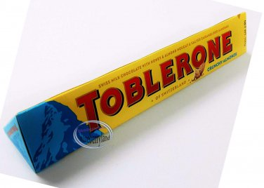 Toblerone Milk Chocolate with Crunchy Salted Caramelized Almonds bar snack sweet candy
