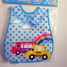 Easy Wipe Fancy Baby Bib with pouch Muslins feeding kids water resistant hook and loop fastener car