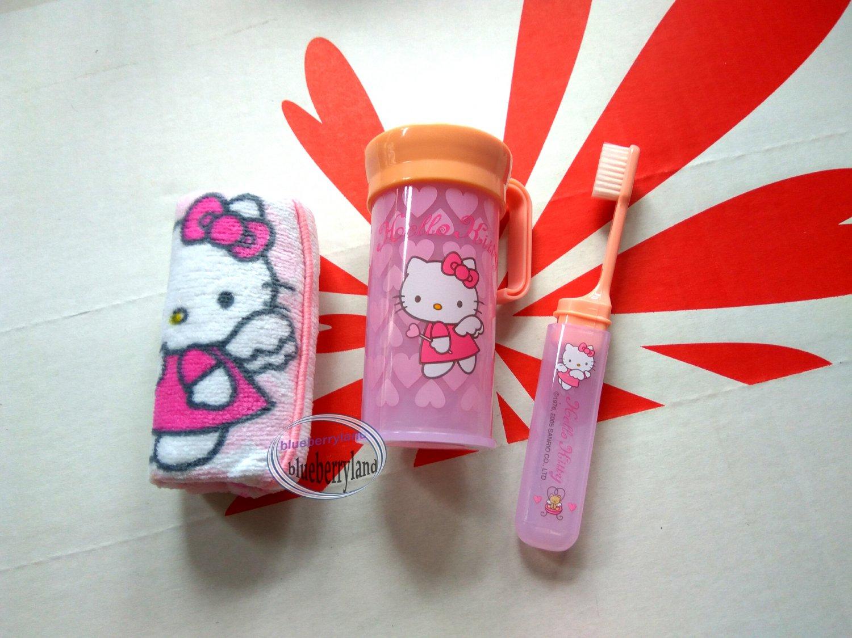 Sanrio HELLO KITTY Travel Toothbrush & Towel set face towels gift ladies girls