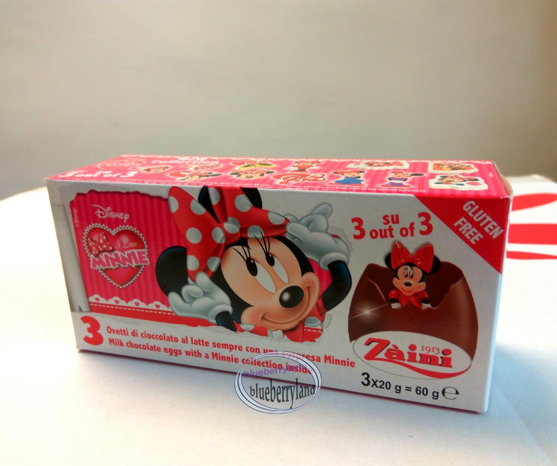 Zaini Disney MINNIE MOUSE Chocolate Surprise 3 Eggs With Toy Figure Inside choco ladies kid