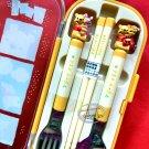 Disney Winnie the Pooh Fork Spoon Chopstick set cutlery bento B2