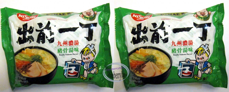 2 Pcs Nissin Noodles Kyushu Tonkotsu flavor Instant Noodle snacks Demae Ramen