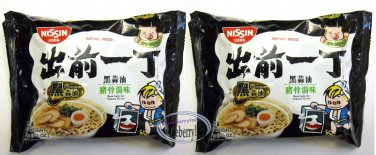 2 Pcs Nissin Noodles Black Garlic Oil Tonkotsu flavor Instant Noodle snacks Demae Ramen