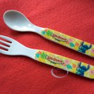 Disney STITCH Plastic Fork & Spoon set Bento cutlery child kids feeding