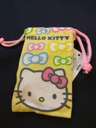 Sanrio HELLO KITTY Yellow Drawstring Bag Mobile Cell Phone BAGS MP3 DC case