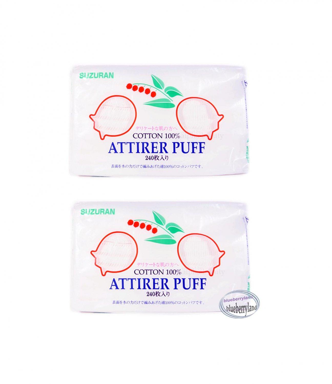 Japan Suzuran Attirer Puff Cotton Cosmetic Makeup Facial pad 240 Pcs x 2
