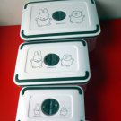 Miffy Plastic Food container 3pcs set Microwavable Airtight Bento Snack Lunchbox foods storage case