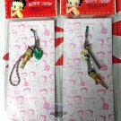 Betty Boop with Pudgy  & Green Leave Cell Mobile Phone Strap charm DC x 2 Pcs