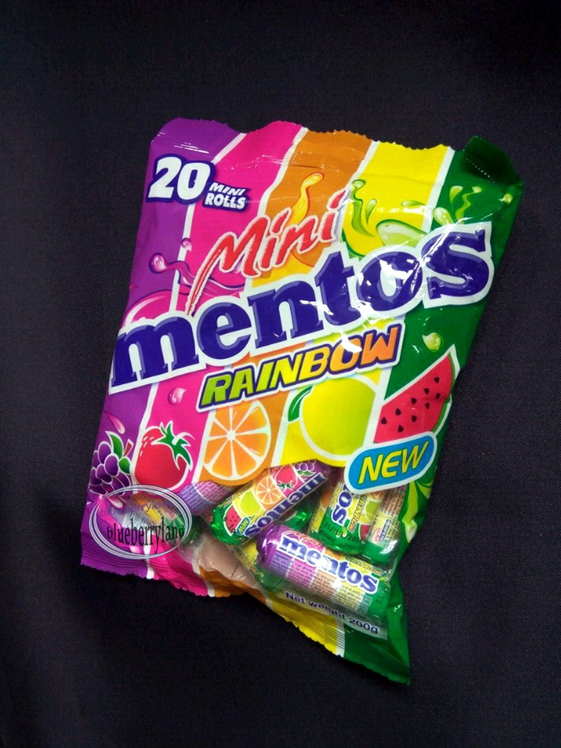 Mentos Rainbow Chewy Fruit Flavored Mini Rolls Packet 200g Candy sweet