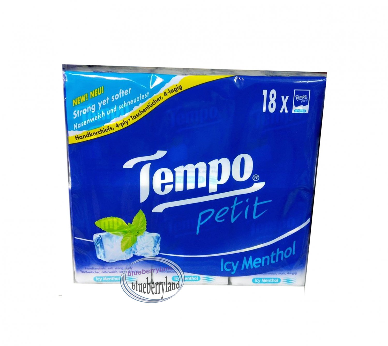 18 Pcs TEMPO Petit Pocket Tissue Paper packs handkerchiefs Icy Menthol