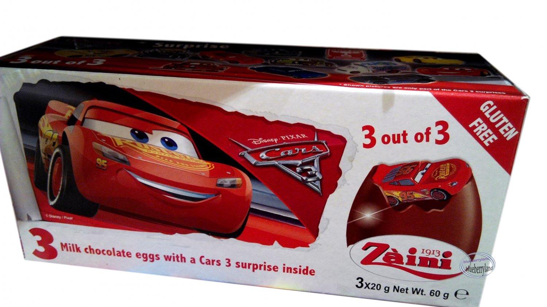 Zaini Disney Pixar Cars 3 Chocolate Surprise 3 Eggs With Toy Figure Inside
