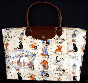 Cat World Shoulder Tote Bag purse Handbag + Cat COASTER set gato chat Katze kat