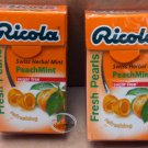 Ricola Peach MINT Swiss Herb Lozenges Sugar free Mint Drops Candy 2 boxes Candies snack sweet