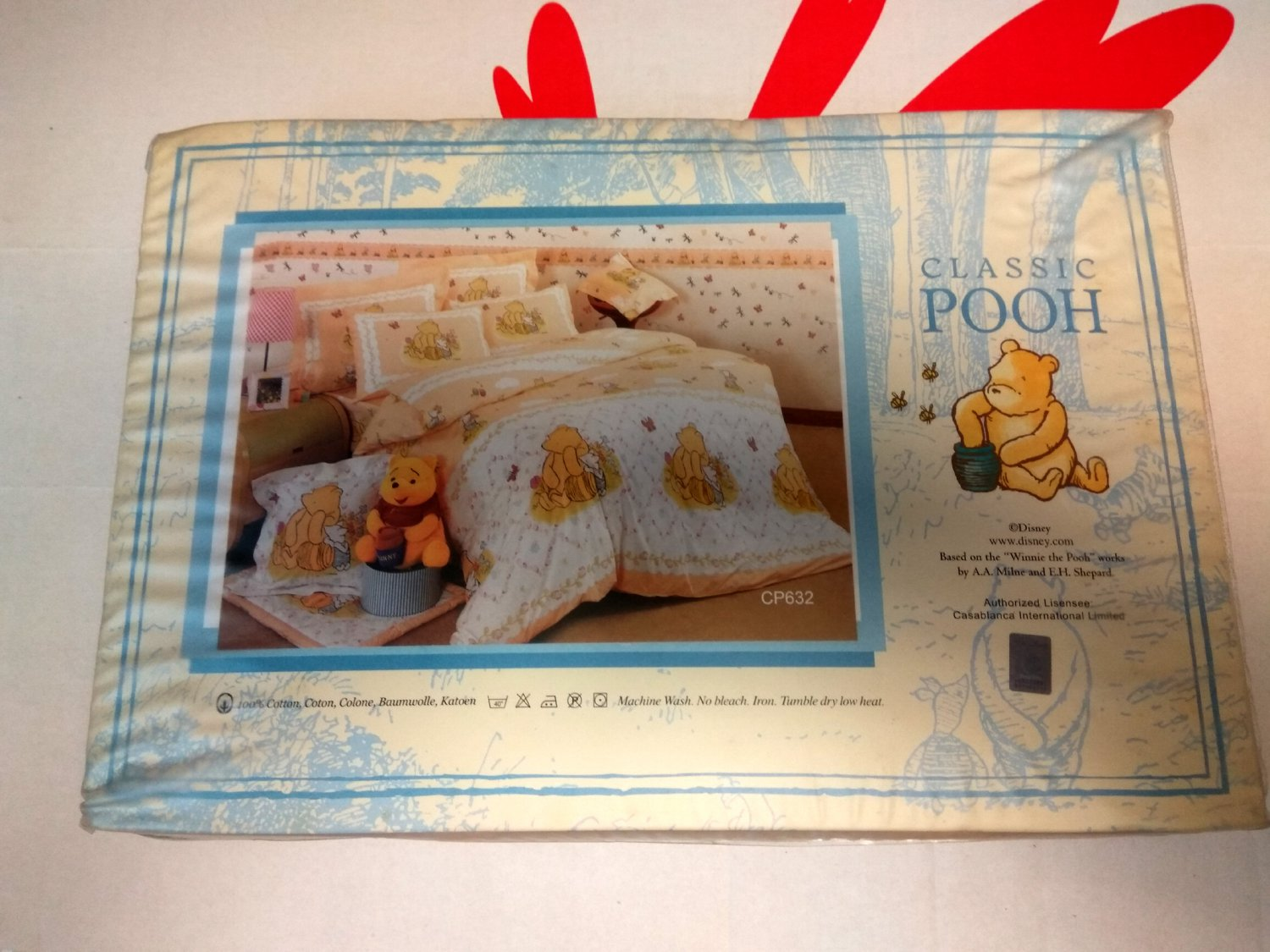 Disney Classic Pooh DOUBLE SIZE 48 x 75 inches Fitted Sheet Pillow case