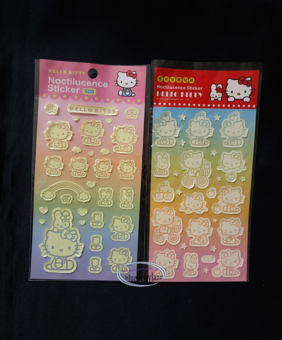 Sanrio HELLO KITTY Noctilucence Sticker 2p set Stickers Sheet girl ladies home bedroom
