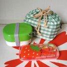 Japan Bento Lunchbox cutlery 4P set Lunch Box Food case ladies girls green