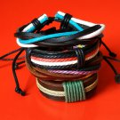 4 pcs Unisex Handmade Fashion Leather Surf Wristband Bracelet Bangle Wrap ladies men