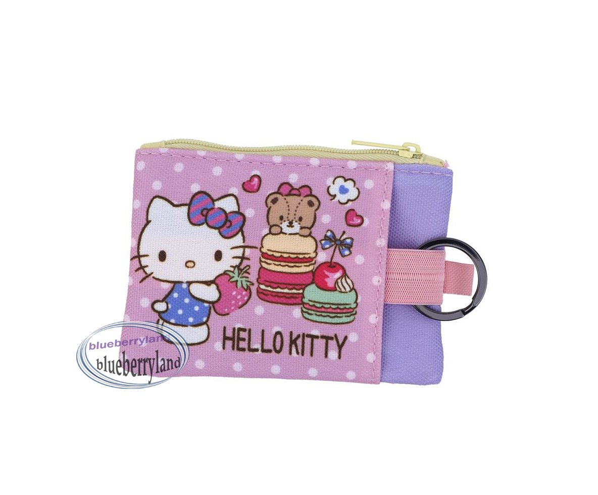 Sanrio Hello Kitty Two-zipper pouch bag with key ring Q19 ladies girls coin bags