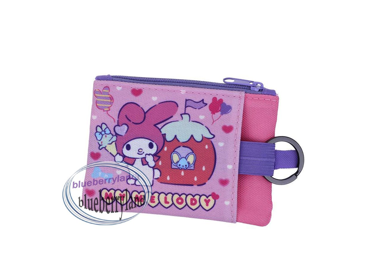 Sanrio My Melody Two-zipper pouch bag with key ring Q19 ladies girls coin bags