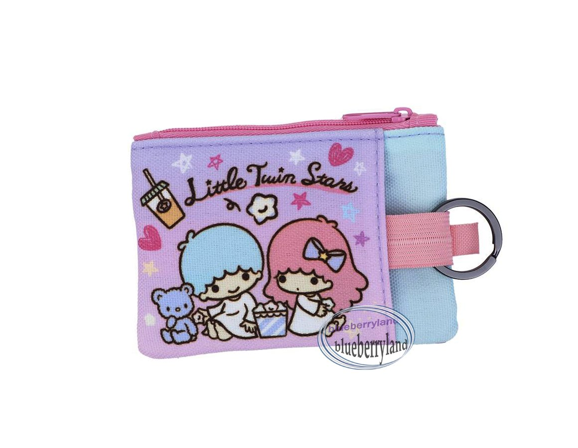 Sanrio Little Twin Stars Two-zipper pouch bag with key ring Q19 ladies girls coin bags