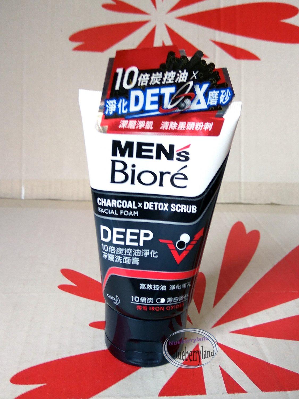 Men's Biore Charcoal x Detox Scrub Facial Foam Cool 100g Deep skin care face wash cleanser P-8