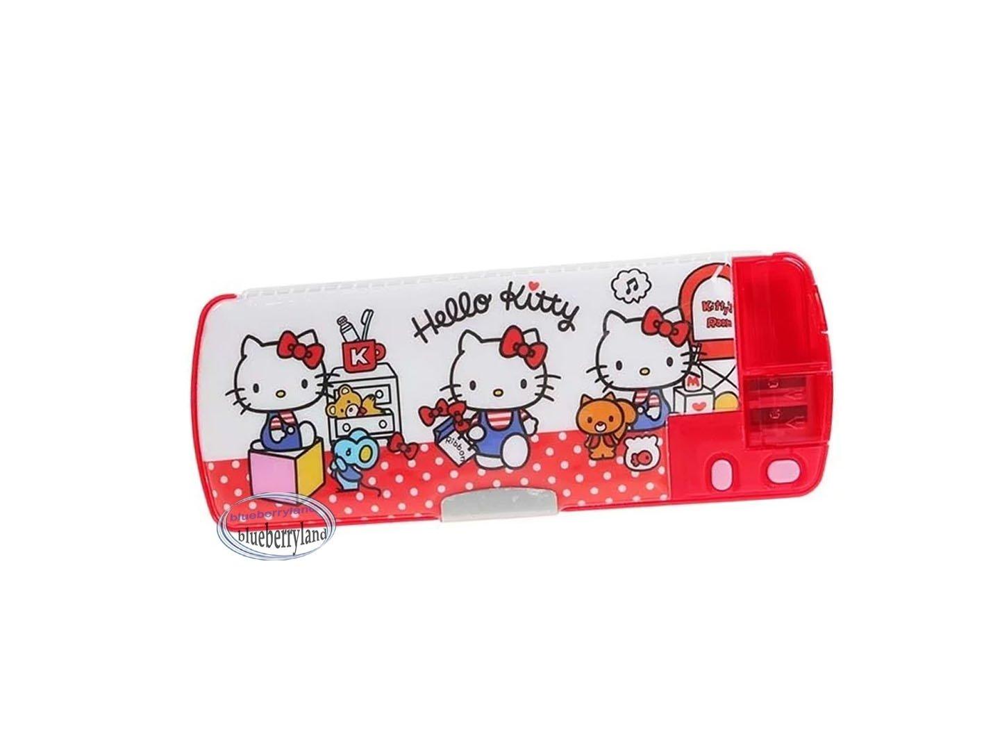 Sanrio HELLO KITTY Multi functional pencil pen case box sharpener girls School stationery D9