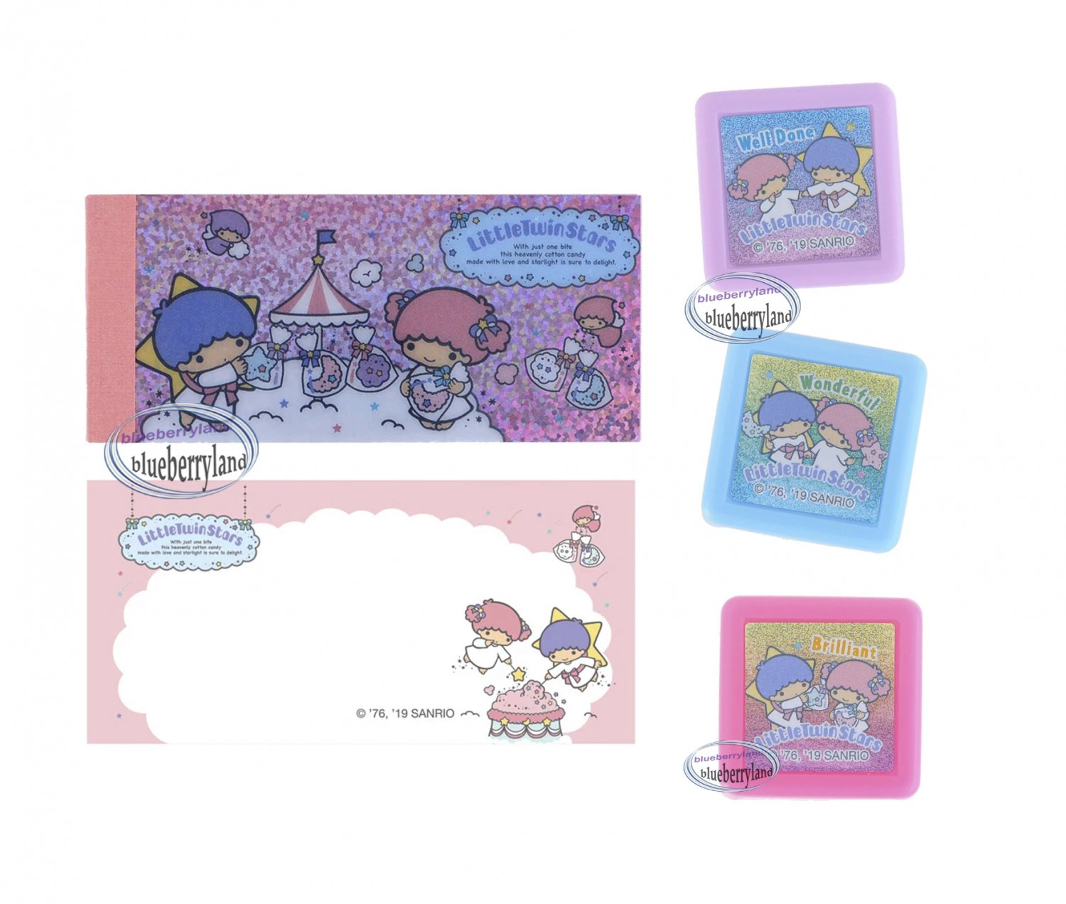 Sanrio Little Twin Stars Self-Inking Stamps with memo pack sets stamp girls ladies DIY