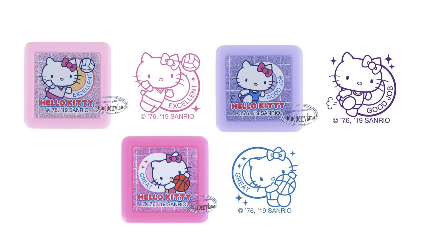 Sanrio Hello Kitty Self-Inking Stamps with memo pack sets stamp girls ladies DIY