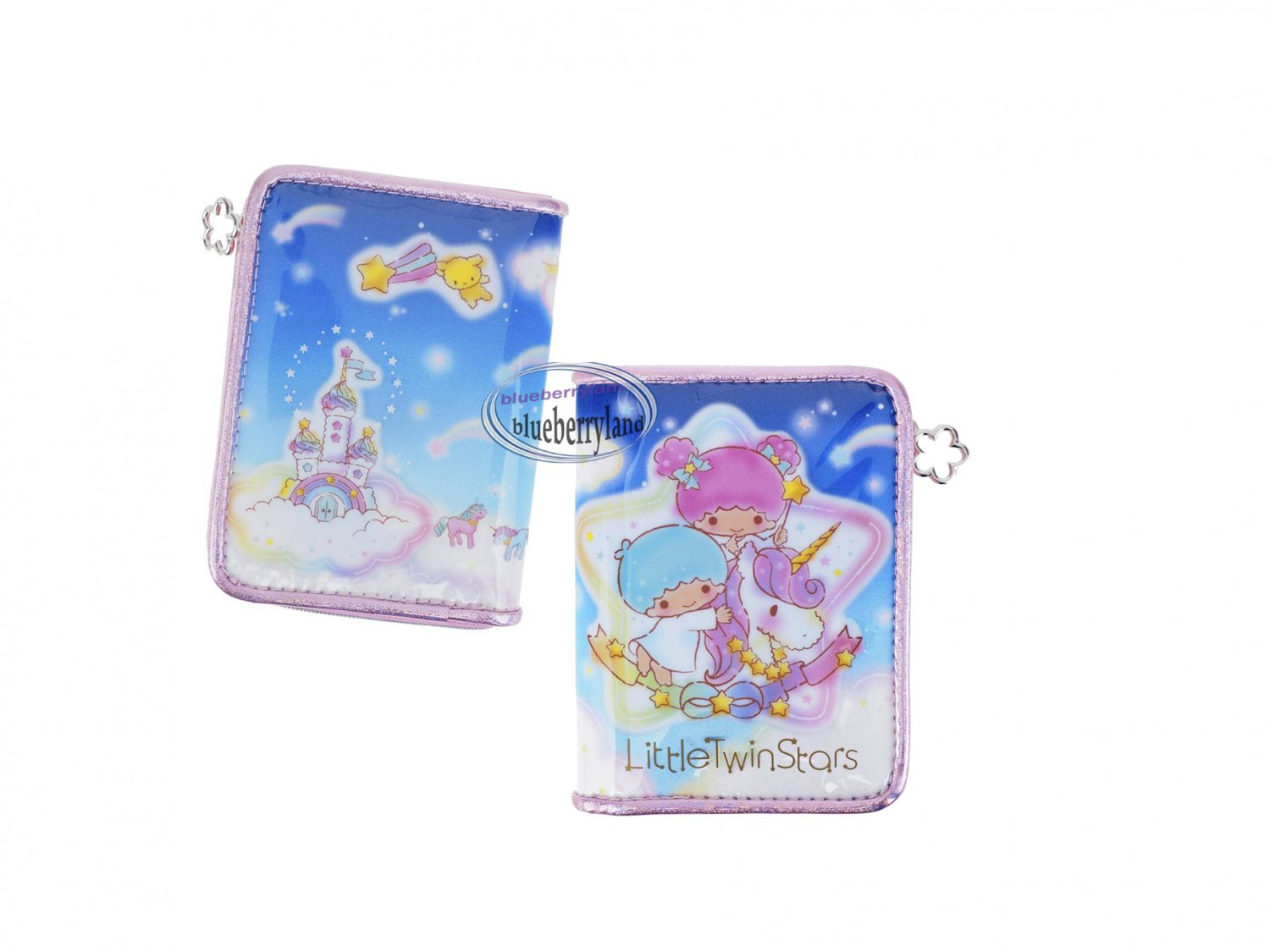 Sanrio Little Twin Stars Bifold Wallet PVC Laminated coin notes purse bag pouch