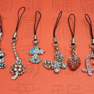 6 Pcs Set of Assorted Cubic Stone Cell Phone Charm Strap AS
