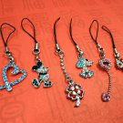6 Pcs Set of Assorted Cubic Stone Cell Phone Charm Strap BS