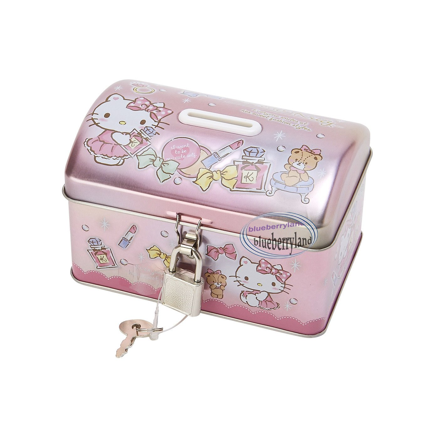 Sanrio Hello Kitty Piggy Bank Metal Cash Box with Lock & Key gift girls ladies