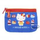 Sanrio Hello Kitty Zipper Pouch bag Blue 2 zipper slip bags case ladies girls T