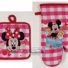 Disney Mickey & Minnie Mouse Oven Mitt Glove Mitten & Pot Holder Set set Home Kitchen