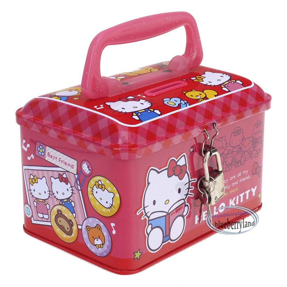 Sanrio Hello Kitty Piggy Bank Metal Cash Box with Lock & Key gift girls ladies T9