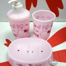 Sanrio Hello Kitty Bathroom Accessories 3 Pieces Set of Soap Dish, Pump Dispenser & Bottle Cup