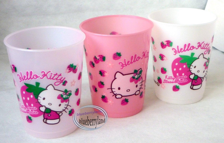 3 Pcs Sanrio Hello Kitty Strawberry Print Plastic Cups Drinking Mug / Cup Kids parties