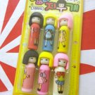 Stationery 6 pieces Eraser set school office home erasers girls boys collectable