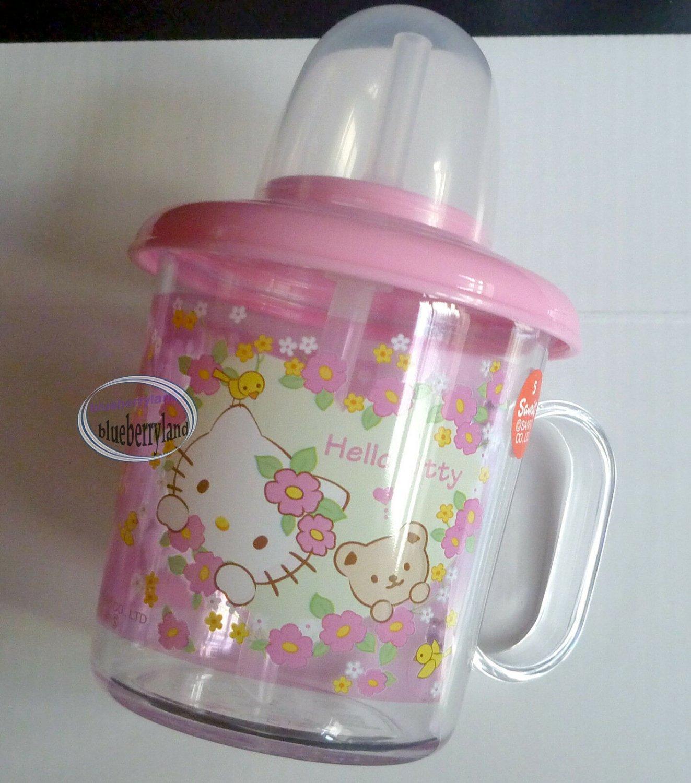 Sanrio HELLO KITTY Baby Training Mug 210ml with Straw Cup kids child girls Pink