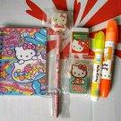 Sanrio HELLO KITTY Stationery 6p Set notebook pencil eraser highlight pen school A