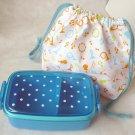 Japan Bento Lunch Box Case Cutlery Bag SET lunchbox kitchen ladies Polka dot BLU