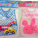 Easy Wipe Fancy Baby Bib with pouch Muslins feeding kids water resistant hook and loop fastener