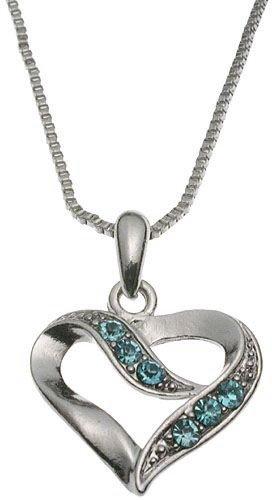 Aqua Crystal Heart Pendant Box Chain Necklace