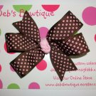 Brown w/Pink Dots Boutique Bow