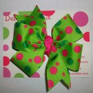 NEW Green Apple Dot Large Boutique Bow