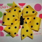 Yellow w/Black Dots Large Boutique Bow