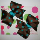 Brown w/Teal Dots Pigtail Set