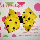 Yellow w/Black Dots Medium Boutique Bow