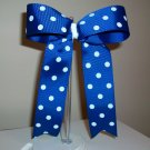 Blue w/White Dots Cheer Bow