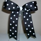 Black w/White Dots Cheer Bow